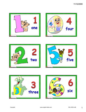 English For KidsESL Kids Age Numbers Flashcards