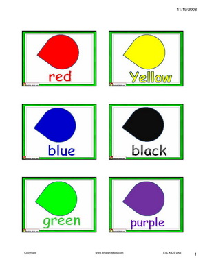 English For KidsESL Kids ColoursColors Flashcards