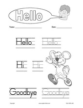 English for kidsesl kids worksheets greetings hello asking name hello goodbye hello hi goodbye m4hsunfo