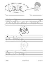 English for Kids,ESL Kids Worksheets, Greetings, Hello, Asking name
