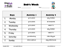 days of the week worksheets set 2