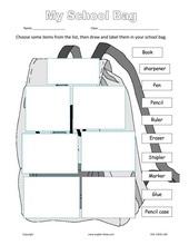 ESL Kids Worksheets School Bag Stationery Worksheets , pen, pencil