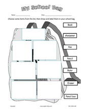 ESL Kids Worksheets School Bag Stationery Worksheets , pen, pencil