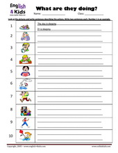 Printables Present Progressive Worksheets esl kids worksheets present progressive action verbs crossword sentence writing
