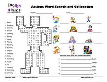 ESL Kids Worksheets Present Progressive Action Verbs ...