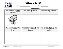 Printables Preposition Kindergarten Worksheets esl kids worksheets home and prepositions set 3