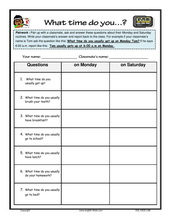 Printables Daily Schedule Worksheet esl kids worksheets telling time daily routines survey
