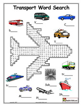ESL Kids Worksheets Transportation - cars , train, subway, taxi